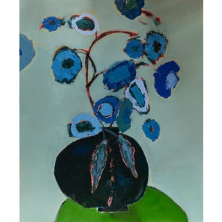 """Bill Tansey """" Two Leafs """" Abstract Floral Oil on Canvas For Sale"""