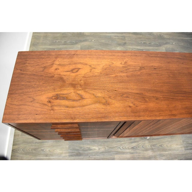 """108"""" Floating Walnut Tambour Credenza by Furnette For Sale - Image 10 of 12"""