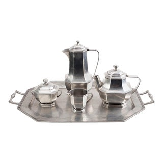 Italian Midcentury Pewter Coffee and Tea Service - 5 Pieces For Sale