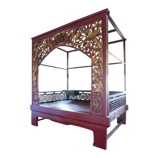 Red Lacquer Gilt Chinese Wedding Opium Bed