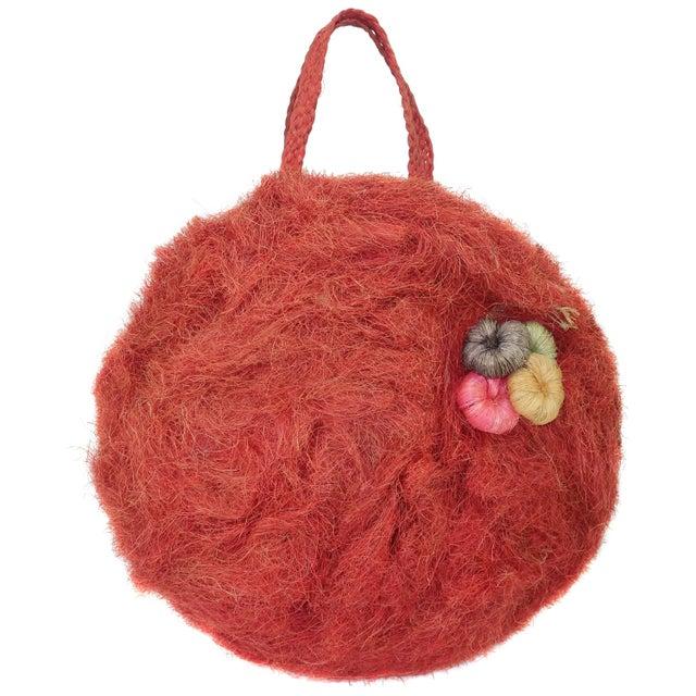 Large 1950's Coconut Straw Novelty Tote Handbag For Sale - Image 11 of 11