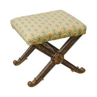Italian Regency Antique 19th Century X Bench