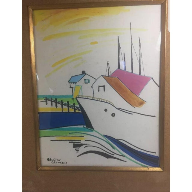 Original framed painting done by listed artist Ralston Crawford. The painting is of a boat that appears to be docked at a...