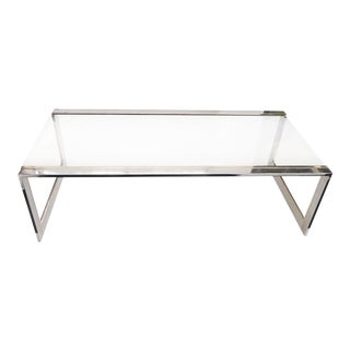French Modernist Glass, Brass & Chrome Coffee Table