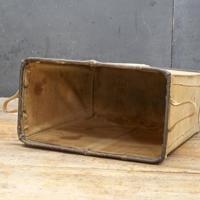1940s Vintage Petite 1940s Industrial Canvas Laundry Clothing Textile Bin Basket For Sale - Image 5 of 7