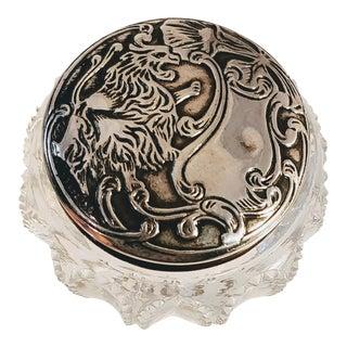 Sterling Silver Repousse Lion Dresser Jar For Sale