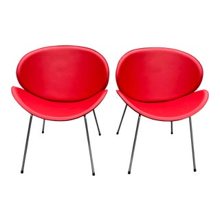 Pierre Paulin Style Orange Slice Chairs - a Pair For Sale