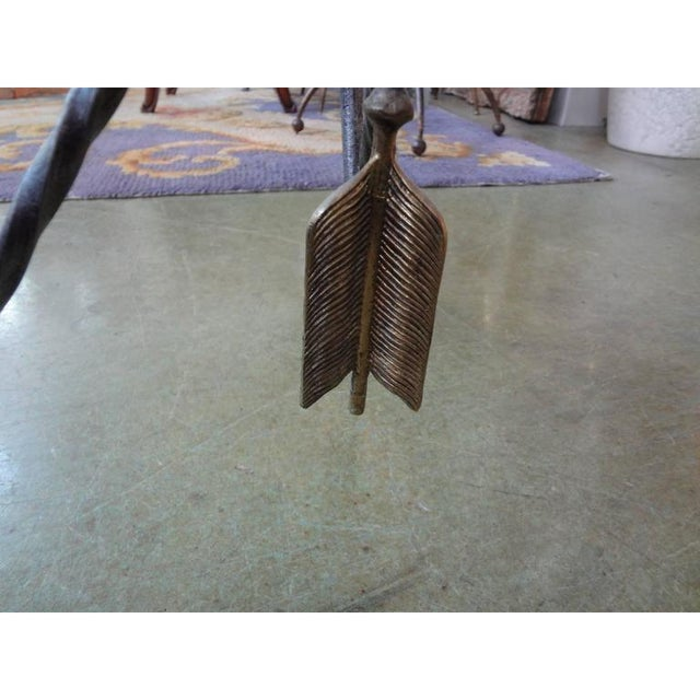 1970s 1970's Italian Giacometti Inspired Iron and Brass Table For Sale - Image 5 of 9