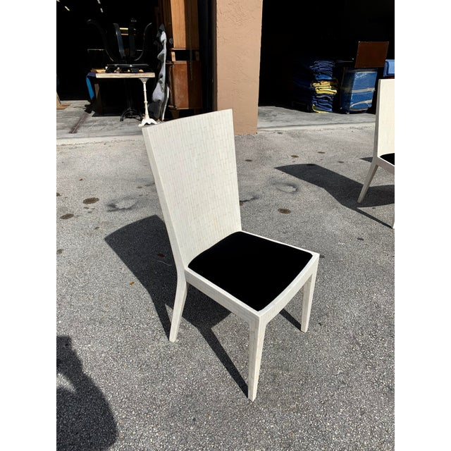 1970s Enrique Garcel Tessellated Bone Dining Chairs - Set of 6 For Sale - Image 10 of 13