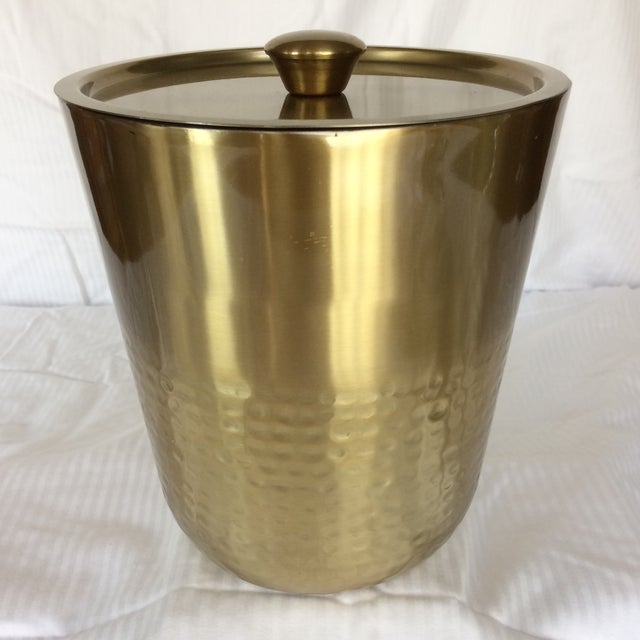 Gold Anodized Double Insulated Ice Bucket and Ice Scoop For Sale - Image 4 of 13