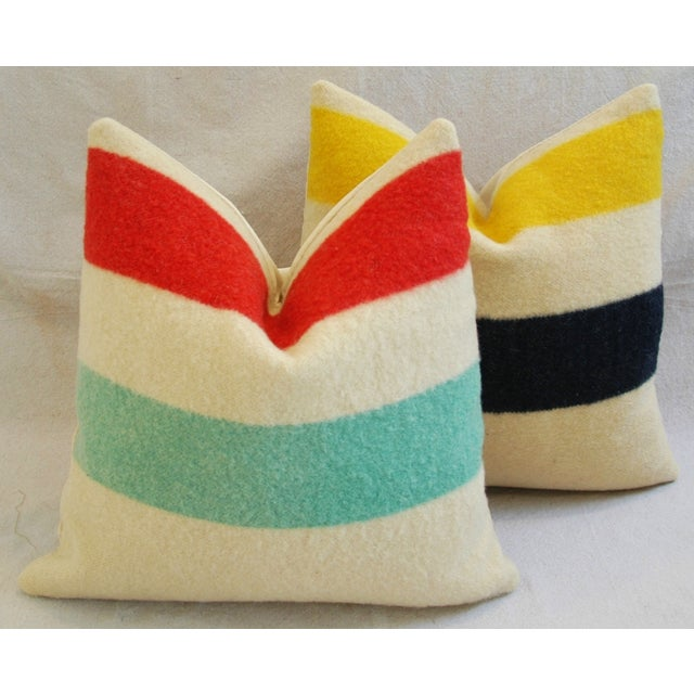 Multi-Striped Hudson's Bay Blanket Pillows - Pair - Image 2 of 11