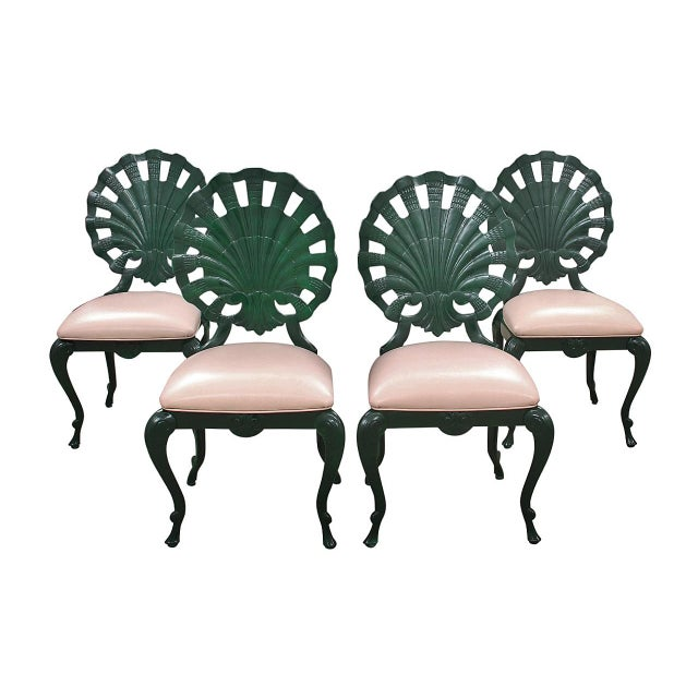 """1950s Venman Furniture aluminum """"Grotto"""" shell chairs. A """"shell"""" back is slightly rounded for comfort and lacquered in a..."""