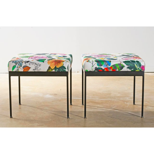 Mid-Century Modern Mid Century Iron Stools or Ottomans in Christian Lacroix Floral Fabric, a Pair For Sale - Image 3 of 3