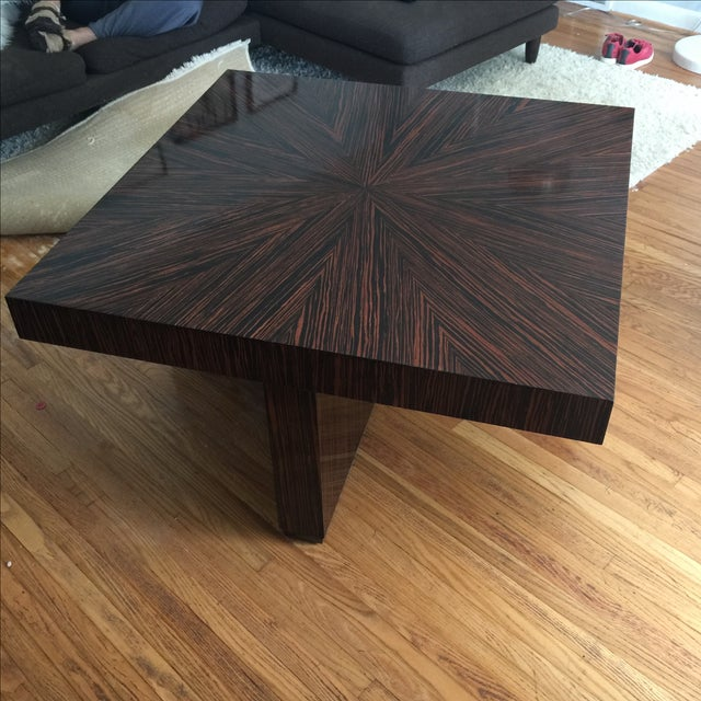 Ribboned Wood Coffee Table - Image 2 of 5