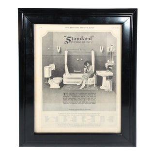"Framed Art Deco Bathroom Advertisement, ""Saturday Evening Post"" From April 30, 1921 For Sale"