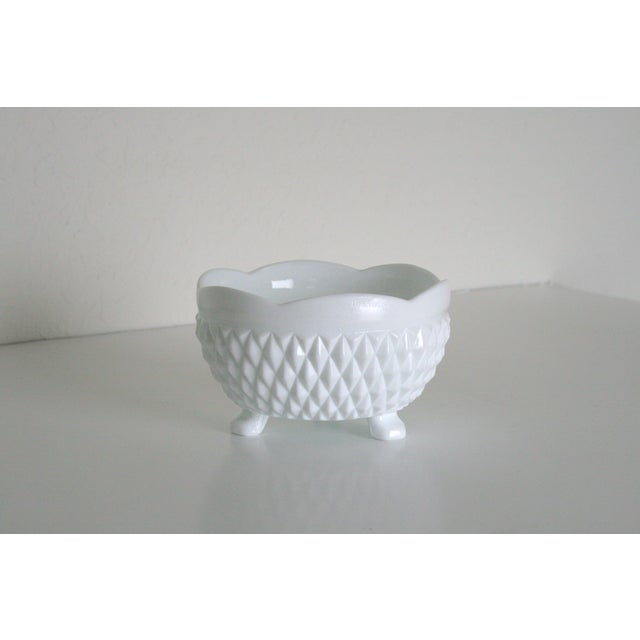Mid 20th Century Vintage Mid-Century Milk Glass Footed Catchall Bowl or Candy Dish For Sale - Image 5 of 5