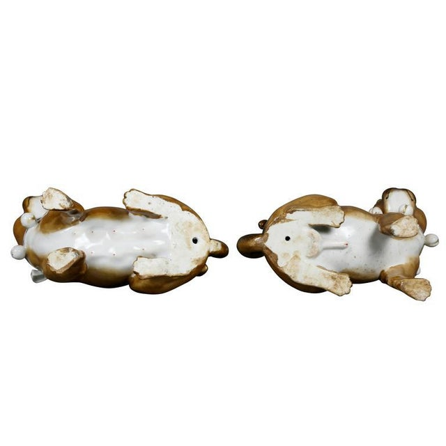 Brown Pair of German Porcelain Figures of Seated Pugs For Sale - Image 8 of 9