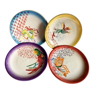 Set of Four Asian Design Stoneware Plates For Sale