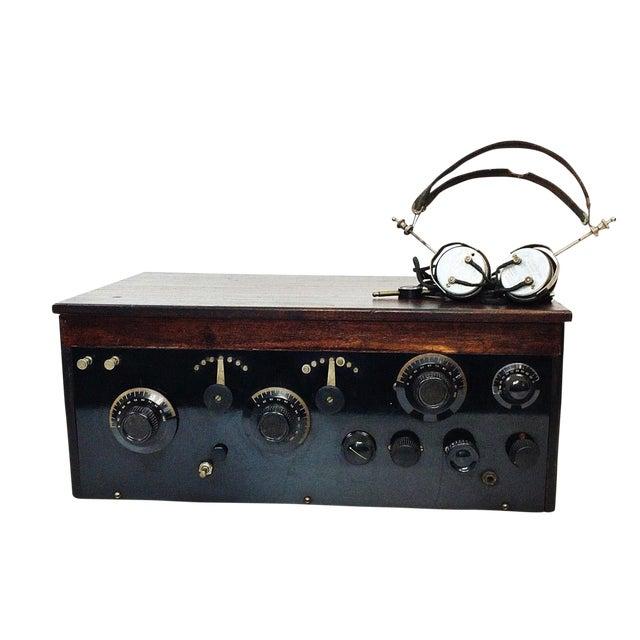 1920s 4 Tube Regen Wood Case Radio & C. Brandes Headphones - Image 1 of 10