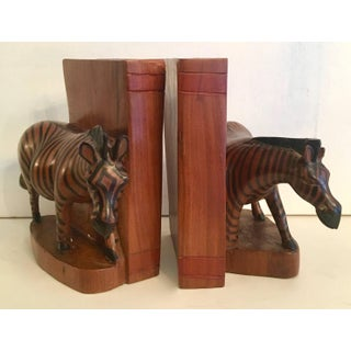 Pair of Hand-Carved Zebra Bookends From Kenya Preview