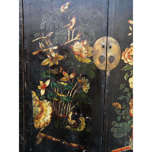 Mid 19th Century 19th Century Chinoiserie-Style Black Elm Cabinet For Sale - Image 5 of 11
