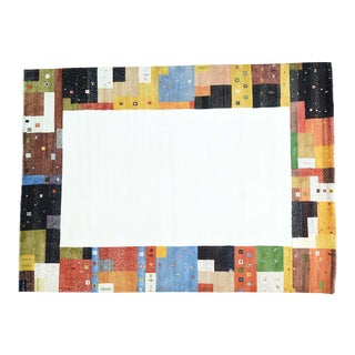 Wool Hand-Knotted Folk Art Gabbeh Rug- 9′8″ × 13′5″ For Sale