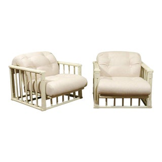 Stylish Restored Pair of Cube Loungers by Ficks Reed, circa 1970 For Sale