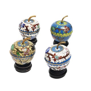 1970s Vintage Handmade Cloisonné Apple Trinket Dishes - Set of 4 For Sale