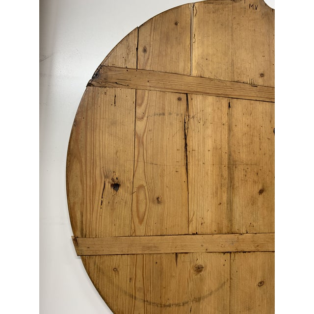 Early 20th C Antique French Pine Boulangerie Round Breadboard For Sale - Image 10 of 13