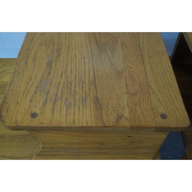Brandt Ranch Oak Rustic Step End Tables - Pair - Image 7 of 10