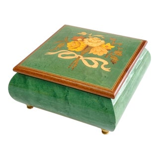 Vintage Italian Burl Elm Marquetry Footed Jewelry Music Box Reuge Movement For Sale