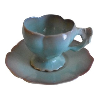 Bone China Blue-Green Lotus Patterned Cup & Saucer - A Pair