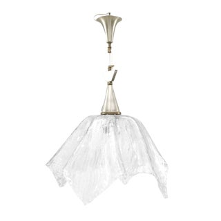 "Italian 1950s Murano ""Rugiada"" Clear Textured Glass Handkerchief Form Lantern For Sale"