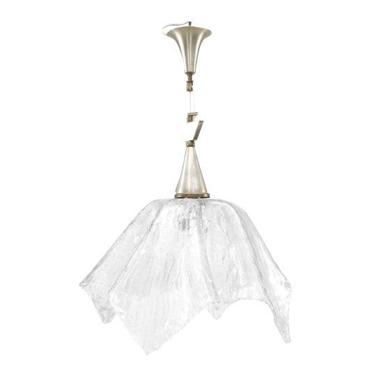"Italian 1950s Murano ""Rugiada"" Clear Textured Glass Handkerchief Form Lantern For Sale"