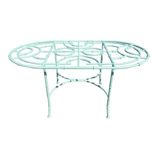 1970s Boho Chic Robin's Egg Blue Faux Bamboo Dining Table For Sale