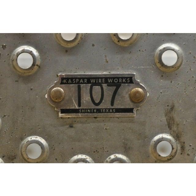 Vintage Kaspar Industrial Wire Works Metal Perforated Storage Gym Locker Basket For Sale - Image 4 of 12