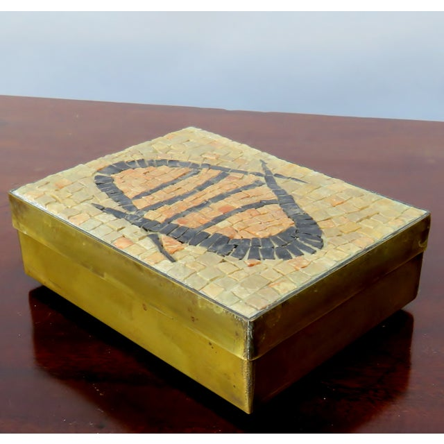 Rustic Vintage Brass & Mosaic Stone Box For Sale - Image 3 of 6