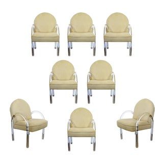 Mid Century Modern Pace Waterfall Lucite Dining Armchairs 1970s - Set of 8 For Sale