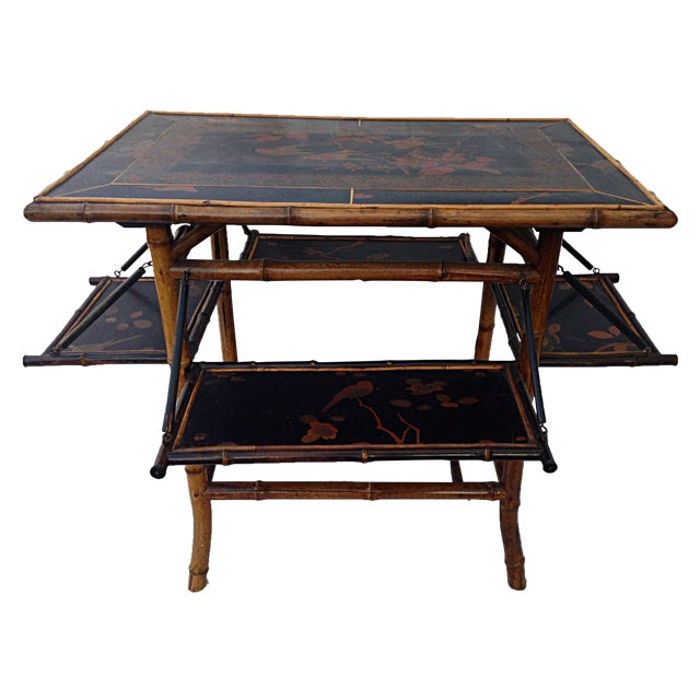 Chinoiserie Black Lacquered Table - Image 1 of 6