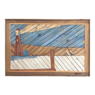 Large Folk Art Painted Wood Lathe Assemblage, Seascape With Lighthouse
