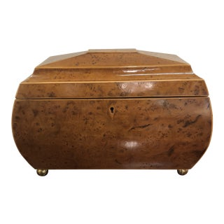 19th Century Antique English Burl Walnut Wood Box With Red Velvet Inlay - Sotheby's For Sale