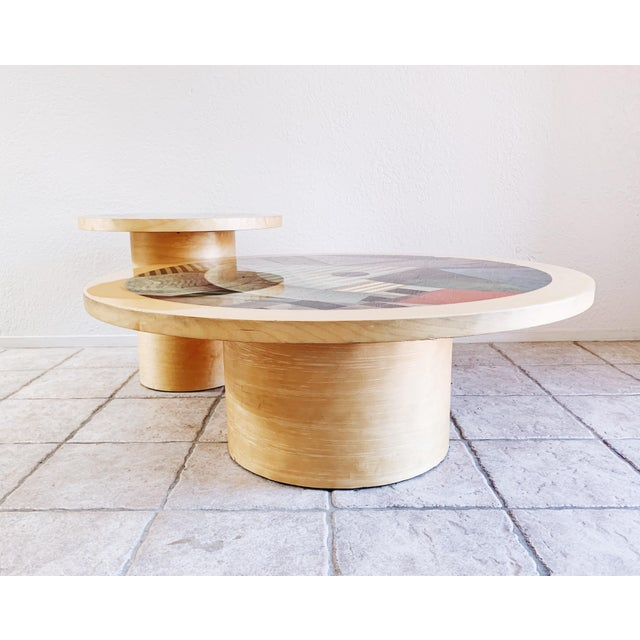 1980s Vintage Post Modern Cylinder Coffee Table For Sale - Image 9 of 10