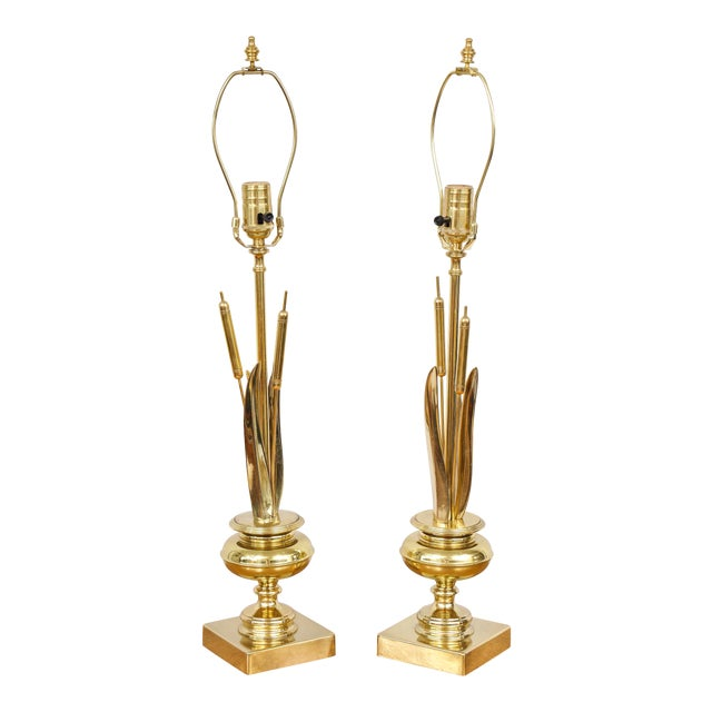 Pair of Brass Cattail Lamps For Sale