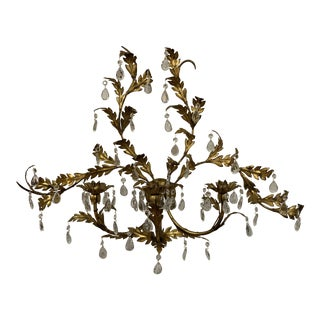 1940s Vintage Italian Gilt Metal and Crystal Candle Sconce, C1940. For Sale