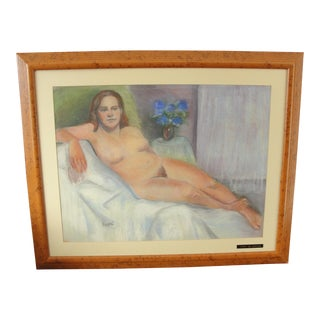 Nude Pastel Drawing of Lady in Repose by Bette