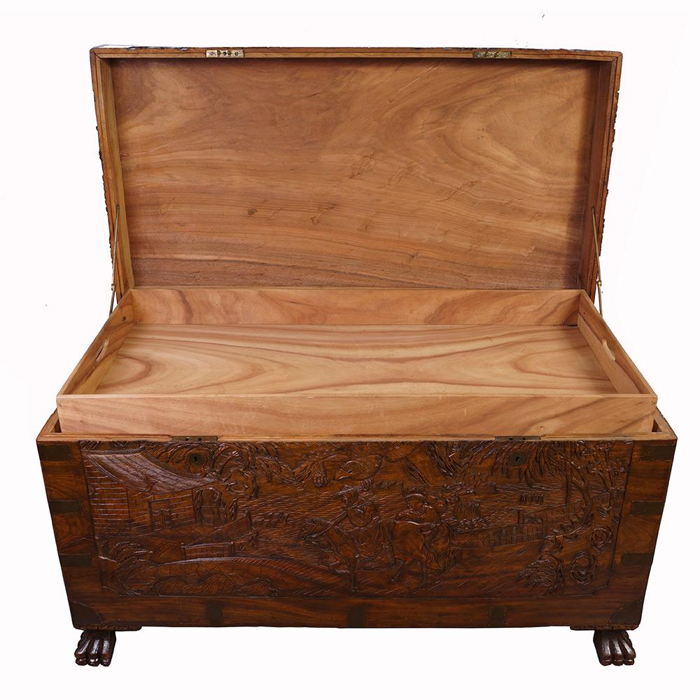 Chinese Antique Carved Hope Chest/Coffee Table   Image 5 Of 13