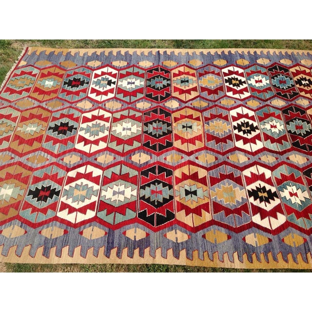"Vintage Turkish Kilim Rug - 6'9"" x 9'3"" - Image 4 of 7"