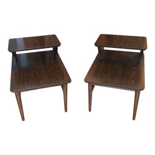 Mid-Century Star Inlay Side Tables - a Pair For Sale