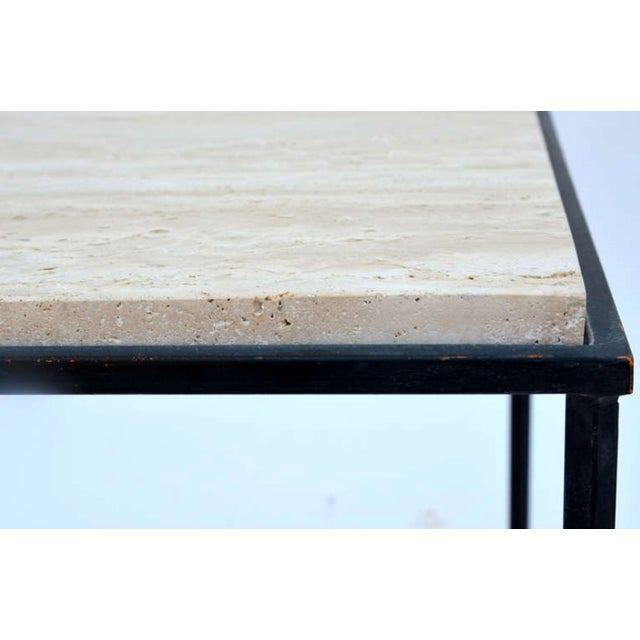 "Contemporary ""Entretoise"" Wrought Iron and Travertine Tables - a Pair For Sale In Los Angeles - Image 6 of 8"