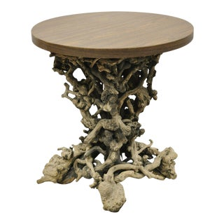 Vintage Driftwood Root Base Drift Wood Pedestal Naturalistic Accent Side Table For Sale